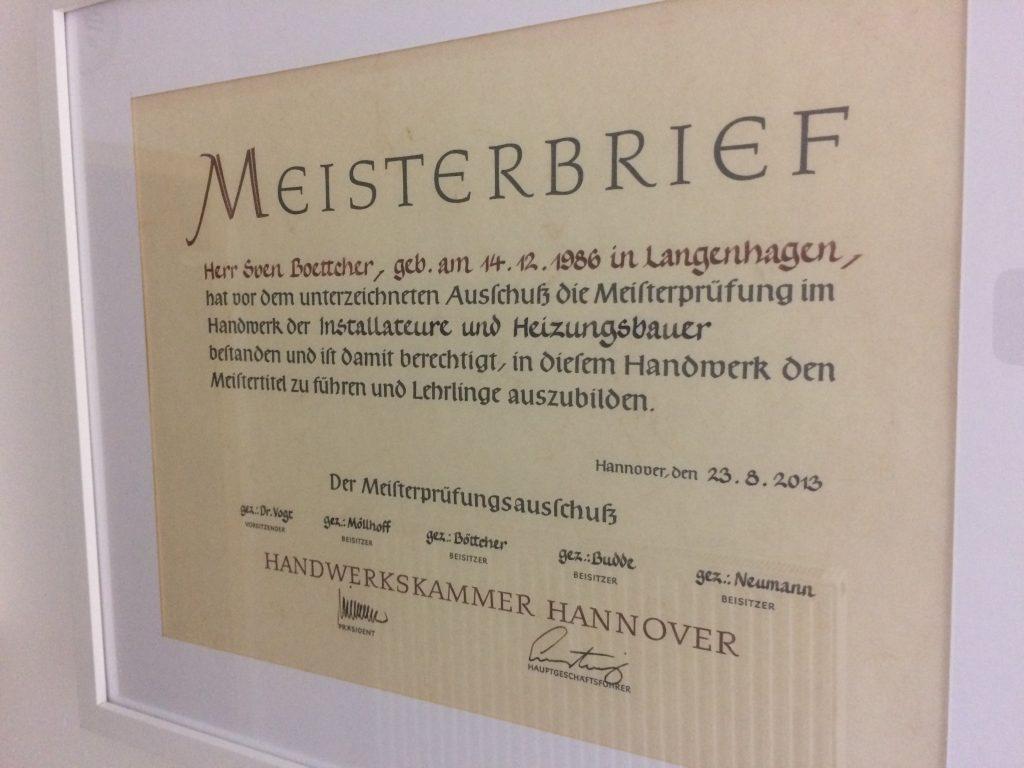 Meisterbrief Sven Boettcher