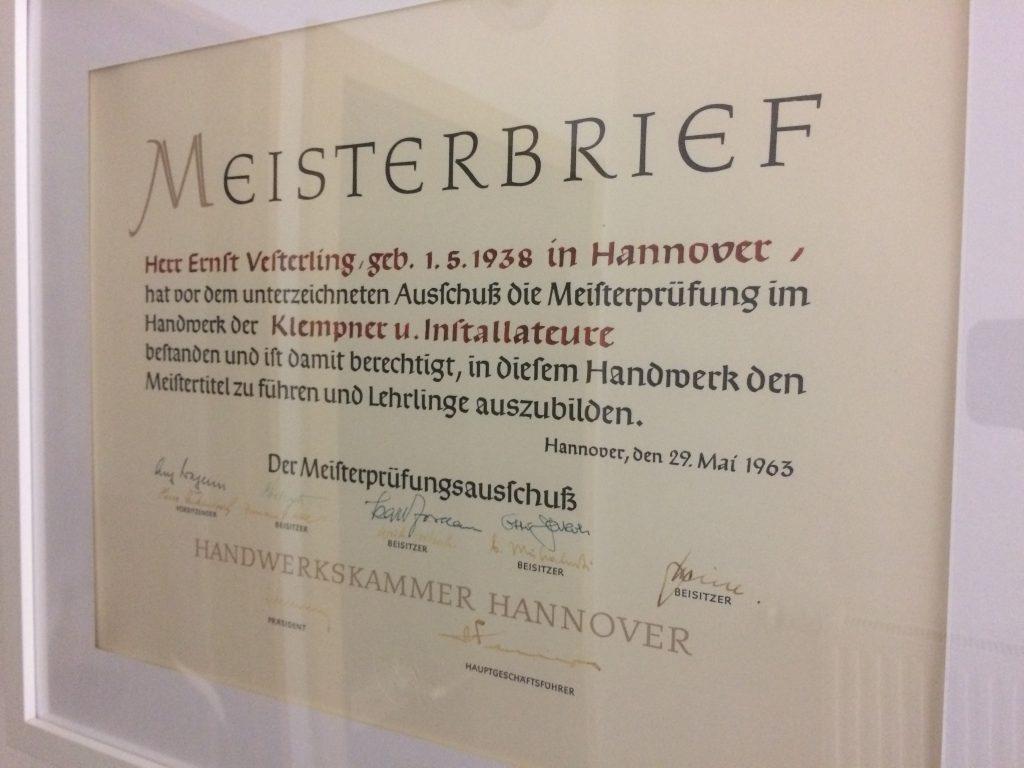 Meisterbrief Ernst Vesterling