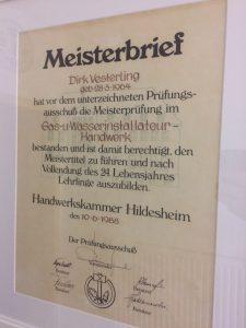 Meisterbrieg Dirk Versterling